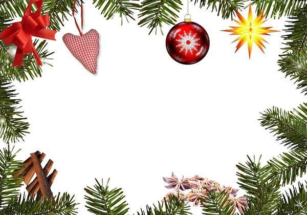 christmas frame with fir and decorations background
