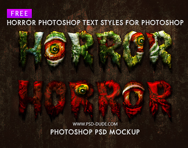 Free Horror Text Styles for Photoshop