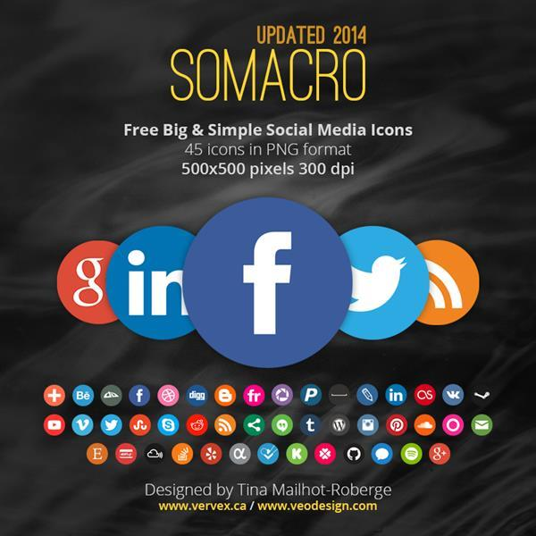 45 Big And Simple Social Media Icons PNG 300dpi