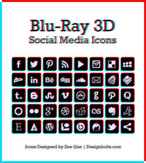 Anaglyph 3D Free Social Media Icons (Glasses Required)
