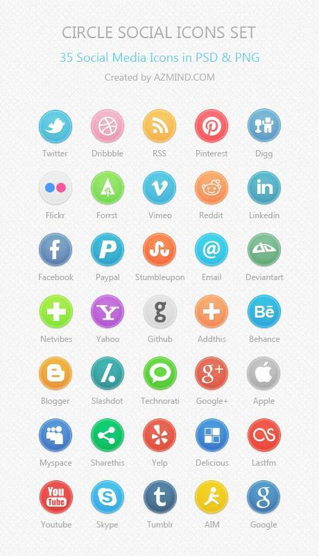 Circle social icons set of 35 social media icons in PSD and PNG