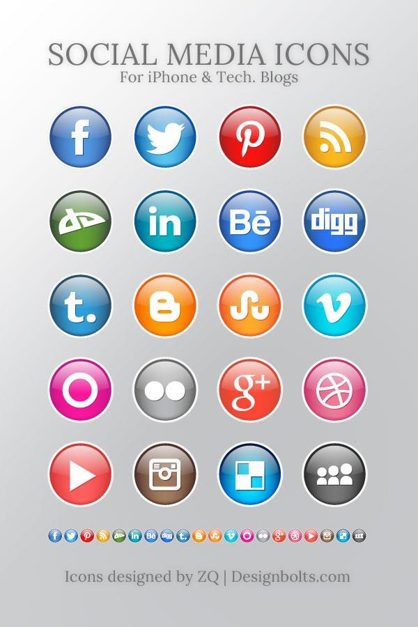 Free Glossy Social Media Icons For iPhone Technology Websites
