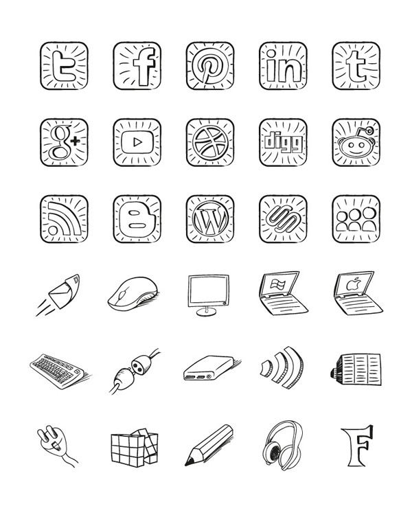 Free Sketch, Hand Drawn Icon Pack