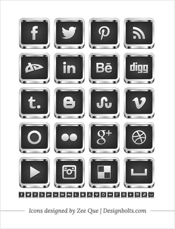 Free Social Media Icons Black And White 3D Silver Border