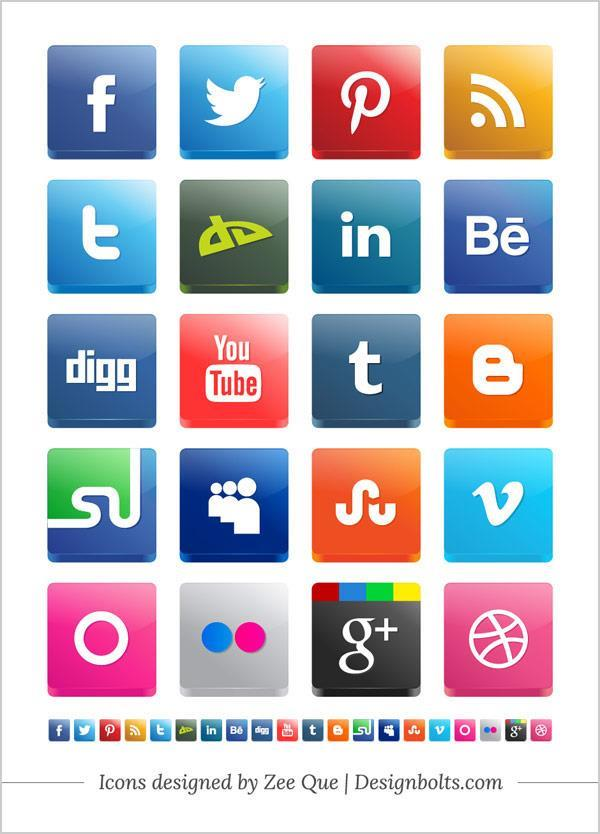 Free Social Media Icons Vector 3D Pack Including Twitter And Pinterest Icons