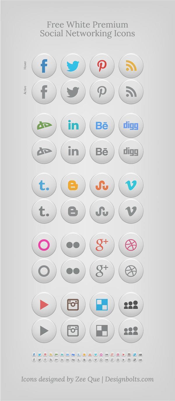 20+ Sets Of Free Social Media Icons (PNG, AI, EPS, PSD