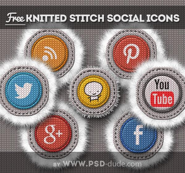 Stitched knitted social media icons free download