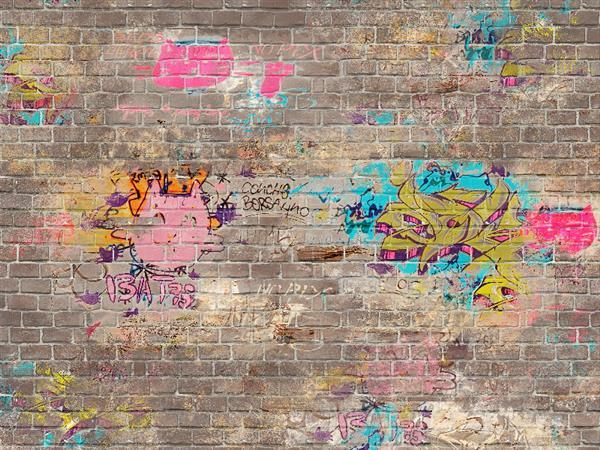 Brick Wall with Graffiti Texture Free Download