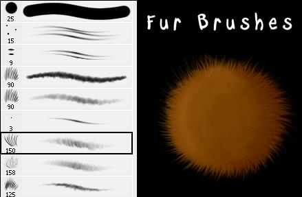 Fur Brushes by Stalcry photoshop resource collected by psd-dude.com from deviantart