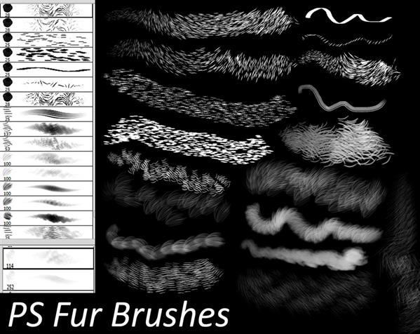 PS Fur Brushes by Dark-Zeblock photoshop resource collected by psd-dude.com from deviantart