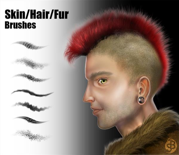 Skin Hair Fur Photoshop Brush Set