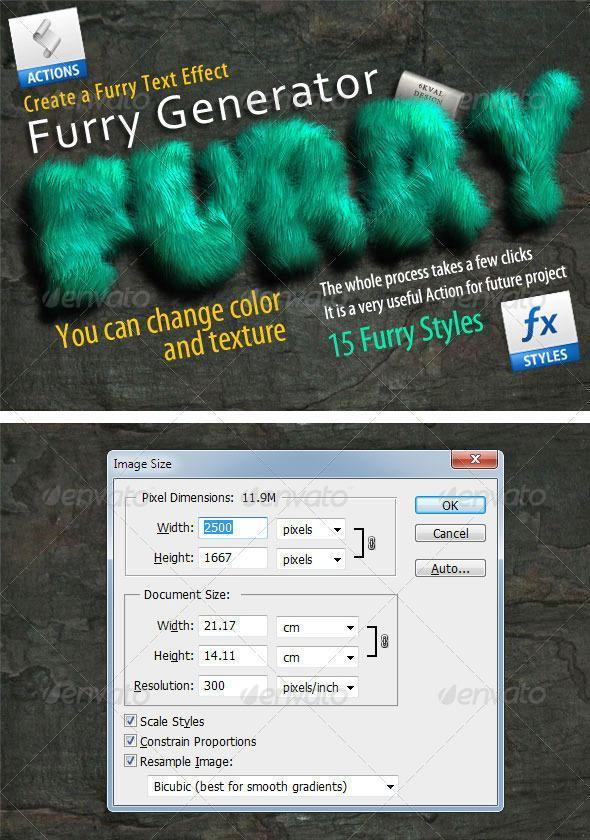 Create Fur Effect Photoshop Action Generator