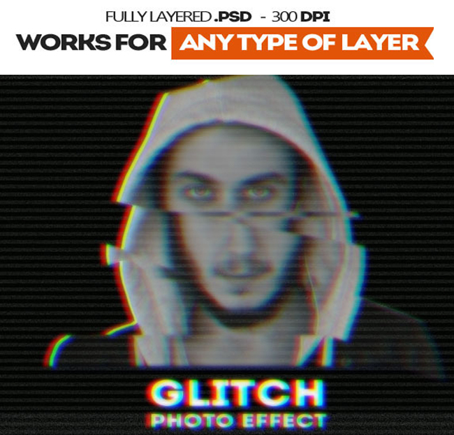 Glitch VHS Corrupted Image Photoshop Actions