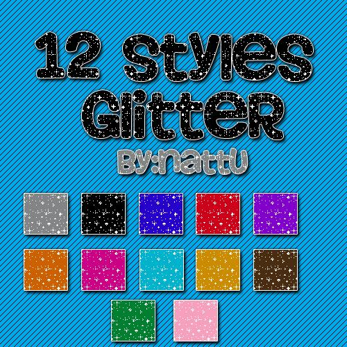 12 Styles Glitter by CuteEditionsFake photoshop resource collected by psd-dude.com from deviantart