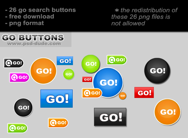 Go Button Image Pack by psd-dude.com