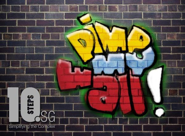 Paint graffiti font on brick wall in photoshop