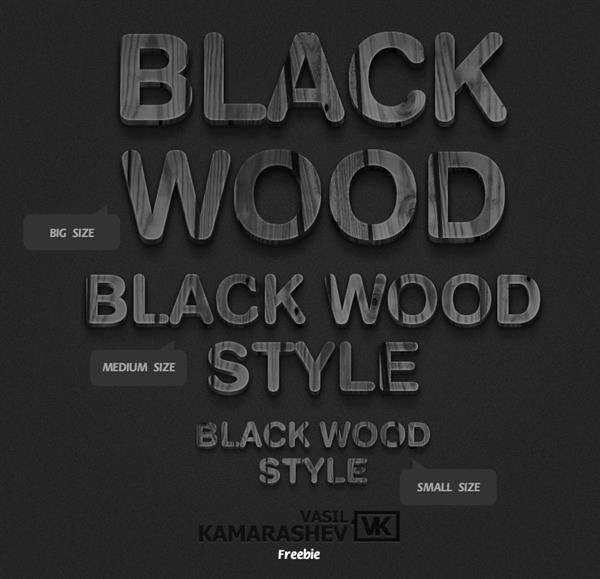 3D Black On Black Wood Style For Photoshop
