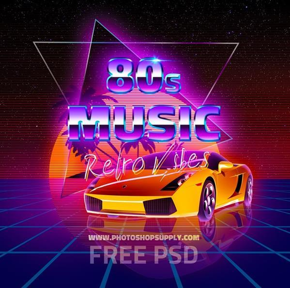 80s Background With Electric Retro Text PSD Download