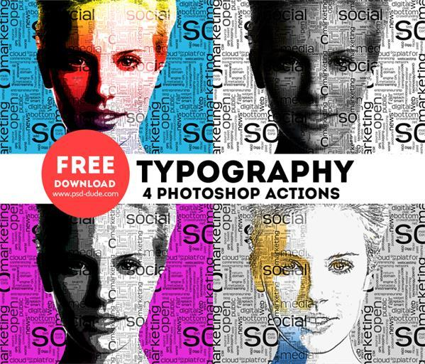 Typography Portrait Photoshop Free Actions