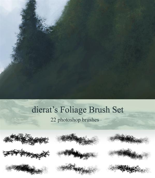 Foliage Brush Set by dierat photoshop resource collected by psd-dude.com from deviantart