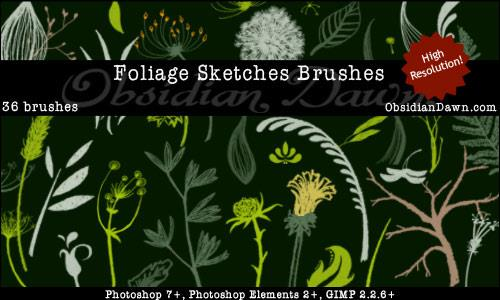 Foliage Sketches Brushes by redheadstock photoshop resource collected by psd-dude.com from deviantart