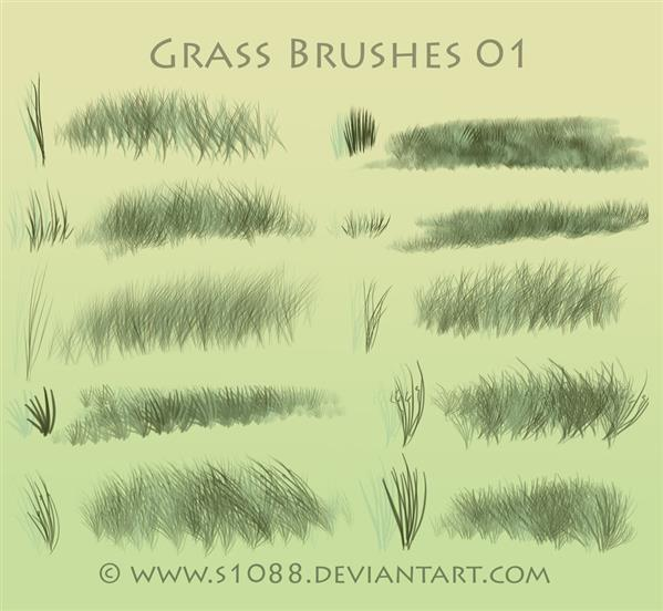 Free PS Grass Brushes by s1088 photoshop resource collected by psd-dude.com from deviantart