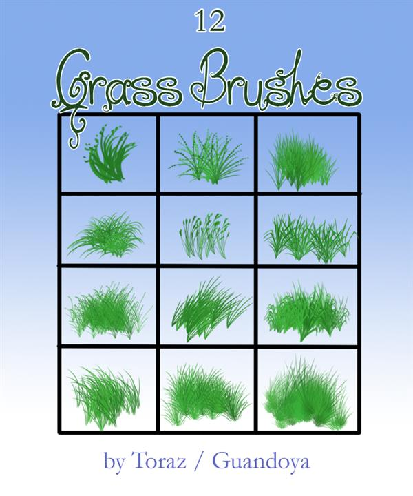 Grass brushes by TorazTheNomad photoshop resource collected by psd-dude.com from deviantart