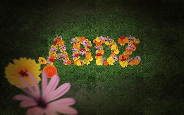 Create a Flower Typography on Grass Textured Background In Photoshop