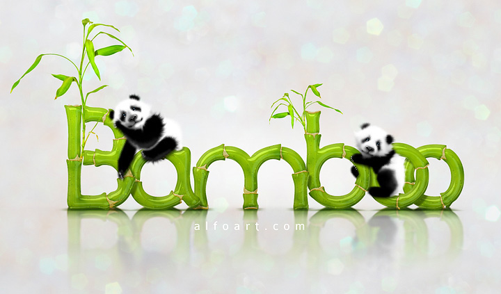 Cute baby panda Bamboo text effect Photoshop tutorial