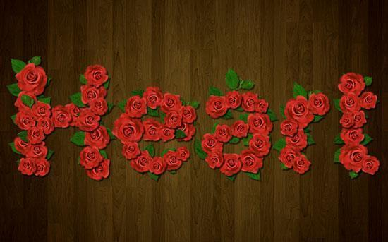 Red Roses text effect Photoshop Tut