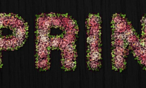 Spring blossoms text in Photoshop