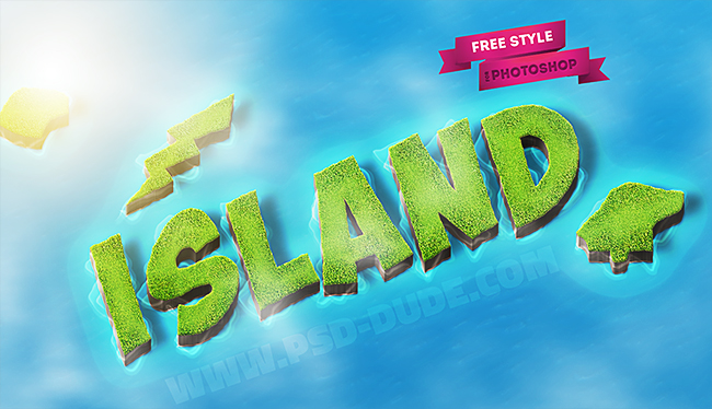 rocky green island photoshop free text effect