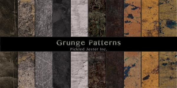 Grunge Patterns by Pickled-Jester-Inc photoshop resource collected by psd-dude.com from deviantart