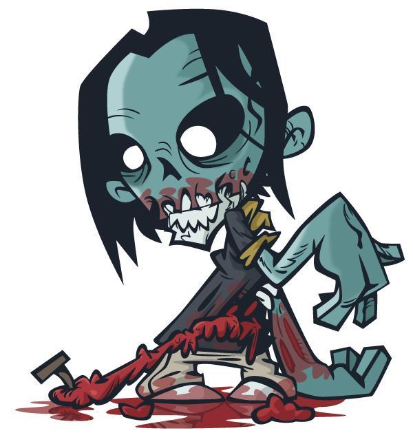 Create a zombie flesh eater in illustrator