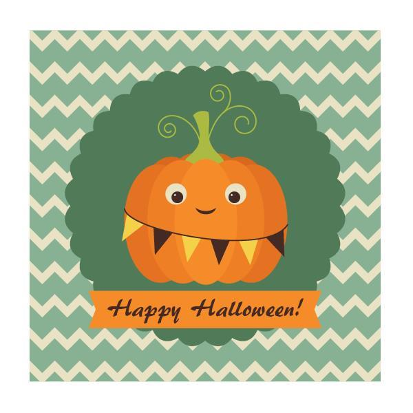 Retro Halloween card with Pumpkin in adobe illustrator