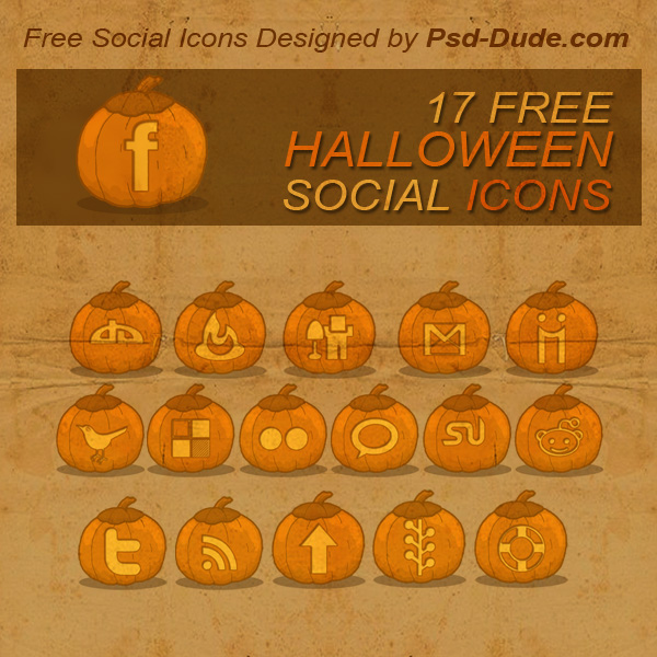 Halloween Pumpkins Free Social Icon Pack - photoshop resource by psd-dude.com