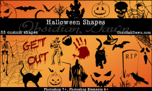 Halloween Custom Shapes by redheadstock photoshop resource collected by psd-dude.com from deviantart