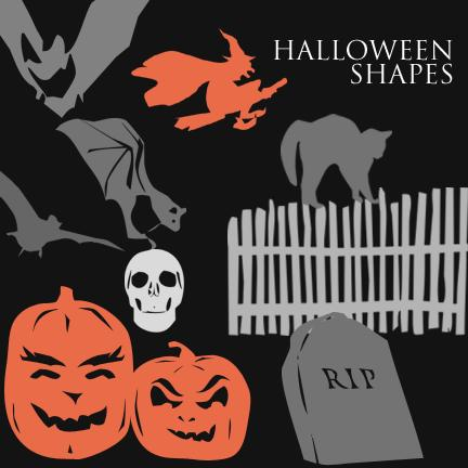 Halloween Photoshop Shapes by olliesan photoshop resource collected by psd-dude.com from deviantart