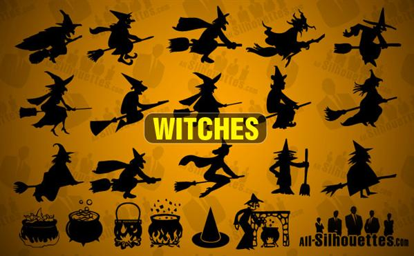 Halloween Vector Witches Shapes for Photoshop
