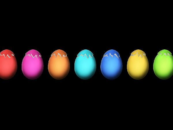 Easter painted eggs cracked PNG Image
