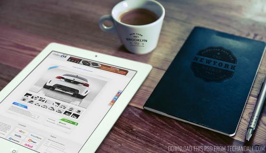 Good morning ipad and coffee cup logo and notebook logo mockup