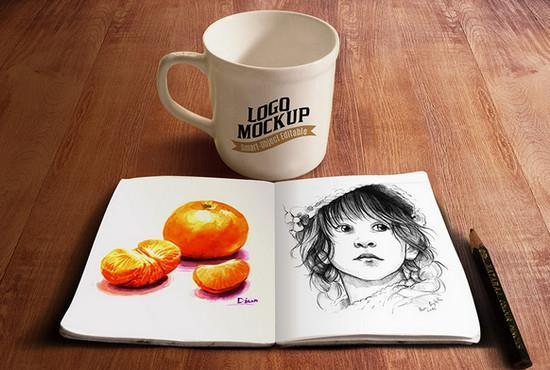 Sketchbook and coffee cup mockup PSD