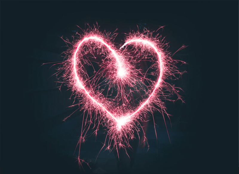 Sparklers Heart Background