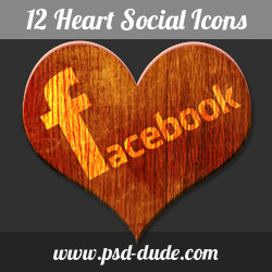Wood Heart Social Networks Icons psd-dude.com Resources