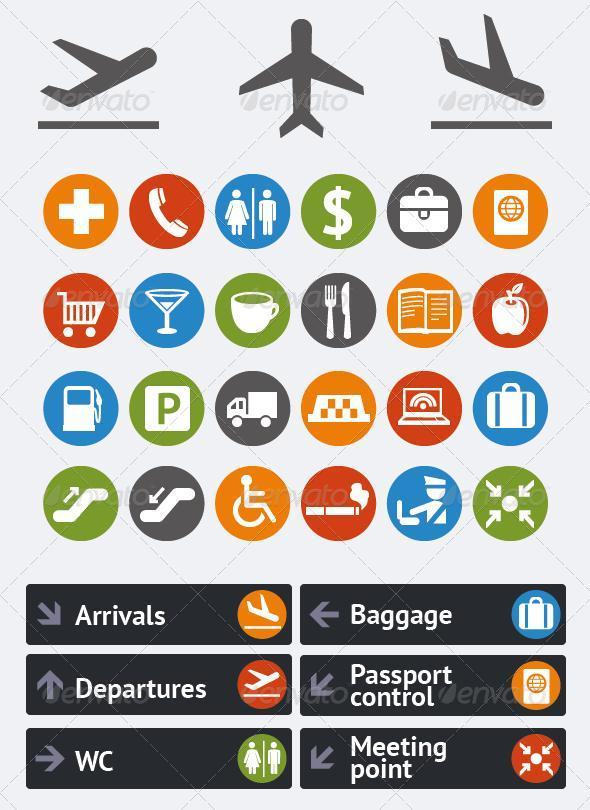 Airport Navigation Vector Icons Premium