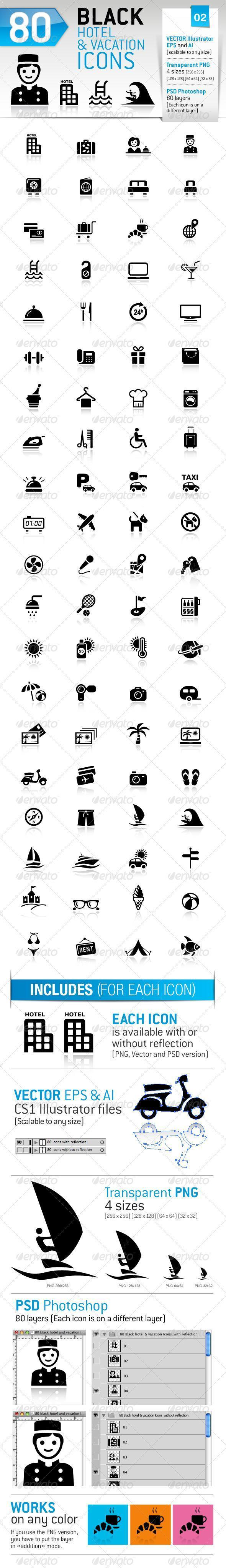 Hotel Trip Vacation Icons PSD Vector Premium