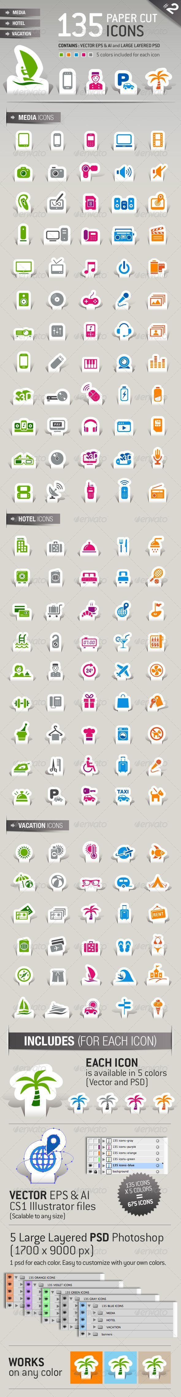 Sticker Travel Icons Vector Premium