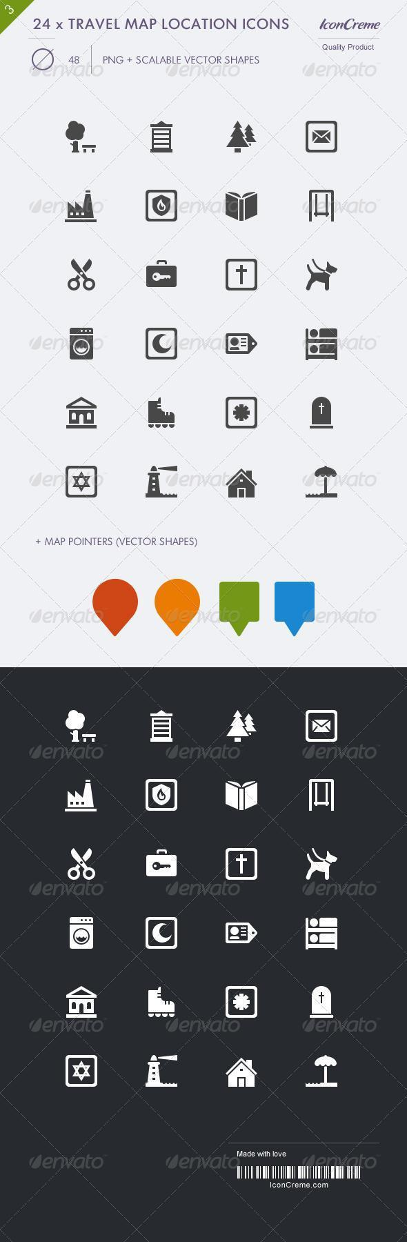 Travel Map Location Pin Icons Premium