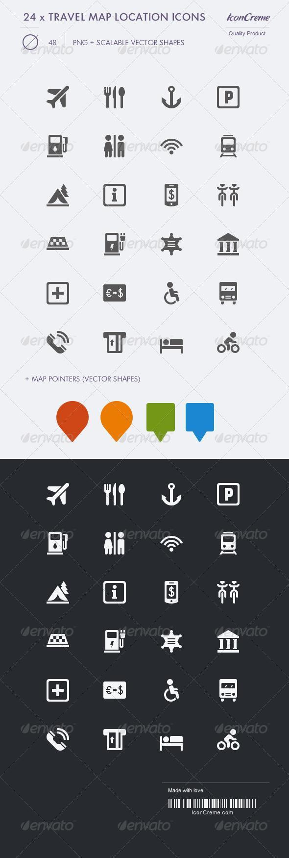 Travel Map Pin Icons Premium