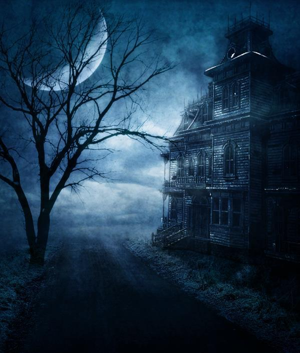 Premade Spooky Abandoned House Stock Image